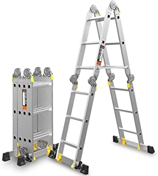 XUQIANG La Escalera Plegable de Aluminio de Uso múltiple Puede Extender la Capacidad de la bisagra de Bloqueo de la Escalera de Seguridad 330 Libras Tritthocker (Size : 3.5+3.5=7M(22.9ft)): Amazon.es: Hogar