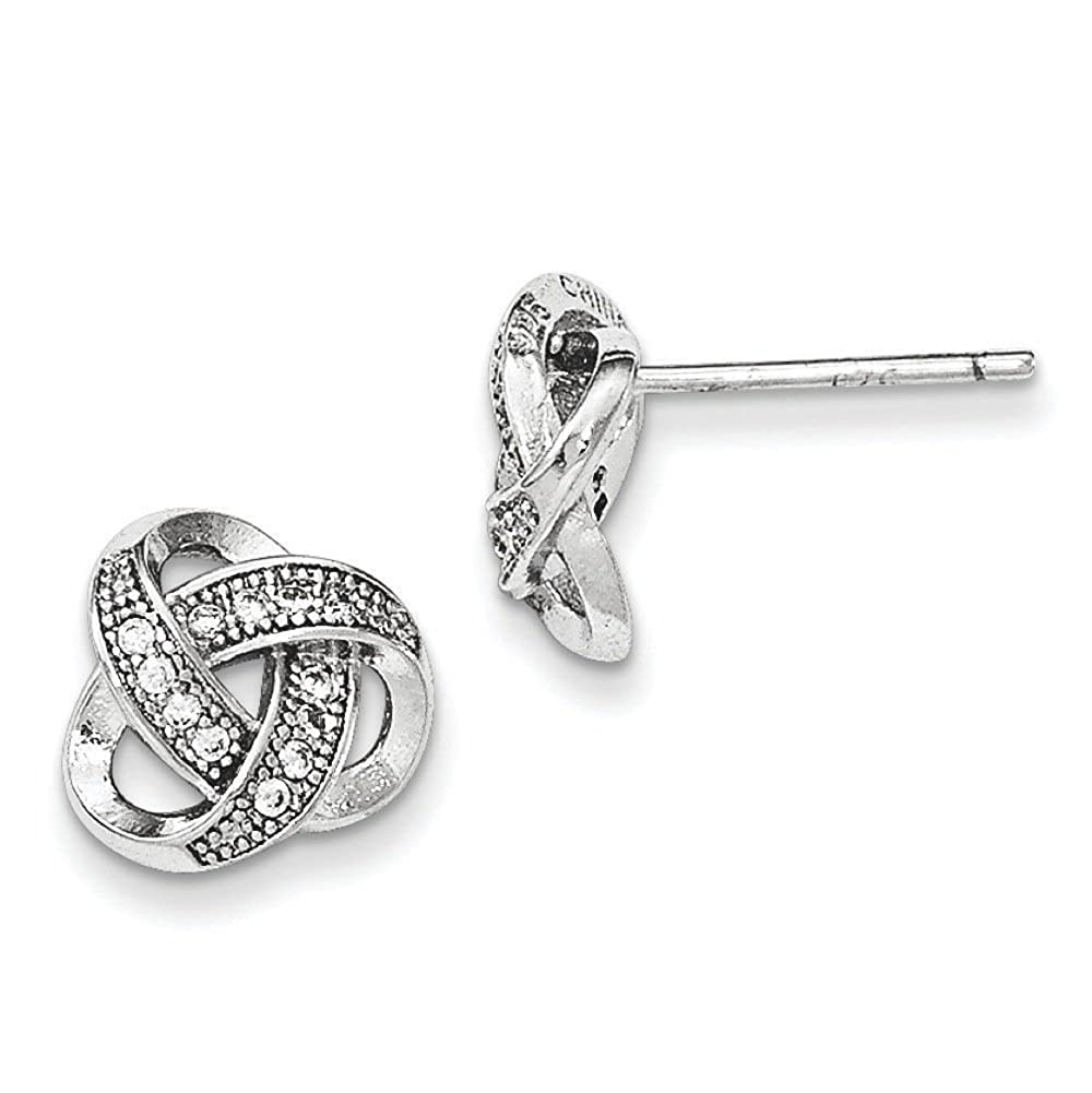 .925 Sterling Silver 10 MM CZ Micropave Love Knot Post Sud Earrings