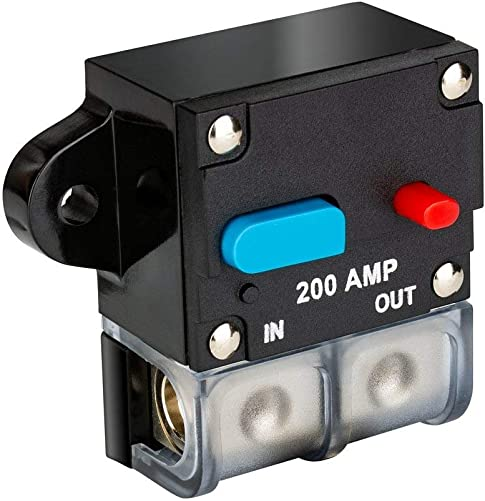 12V-24V DC Car Audio Inline Circuit Breaker 200A Reset Fuse Holder for Stereo Switch System Protection New-200A