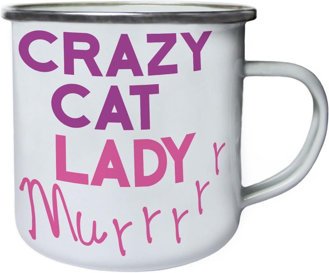 señora loca gato gracioso Retro, lata, taza del esmalte 10oz/280ml cc767e: Amazon.es: Hogar