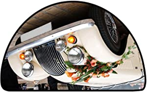 Half Round Multi-Color Modern Area Rug Vintage Wedding Car Decorated with Flowers W 31 Inch x L 20 Inch Anti-Fatigue Comfort Mat
