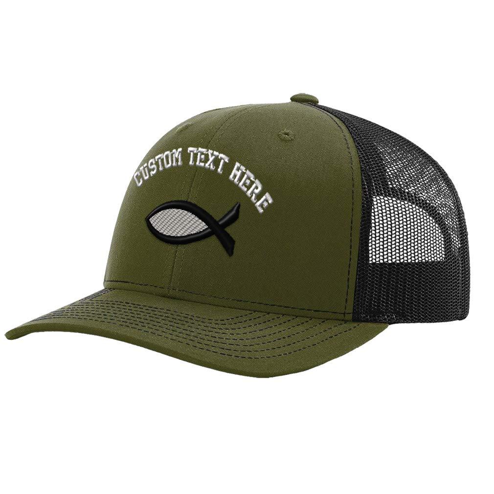 Custom Richardson Trucker Hat Jesus Fish B Colors Embroidery Design Polyester