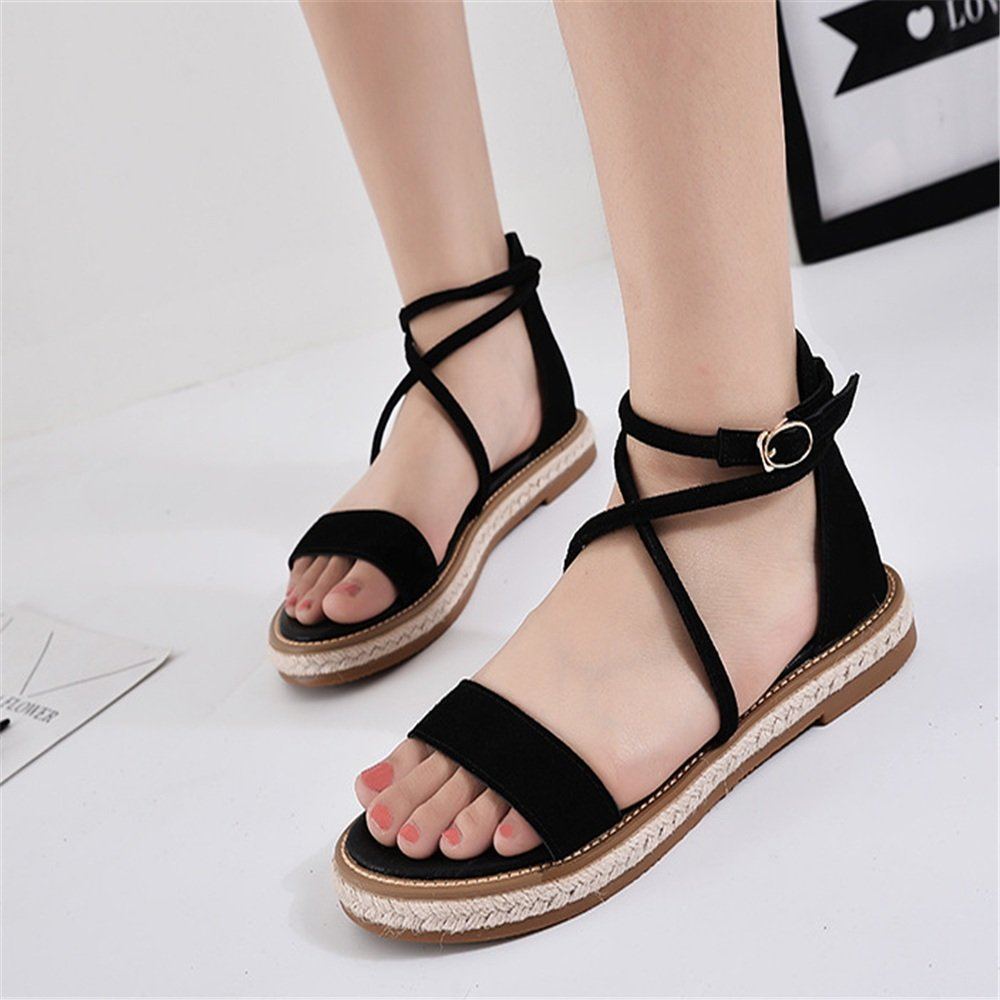 Black Women's Flat Sandals Rome Sandals Female Summer Cross Strap Retro Word Buckle Large Size Flat shoes Daily Apartment Flat shoes Beach Sandals (color   Black, Size   7.5 US)