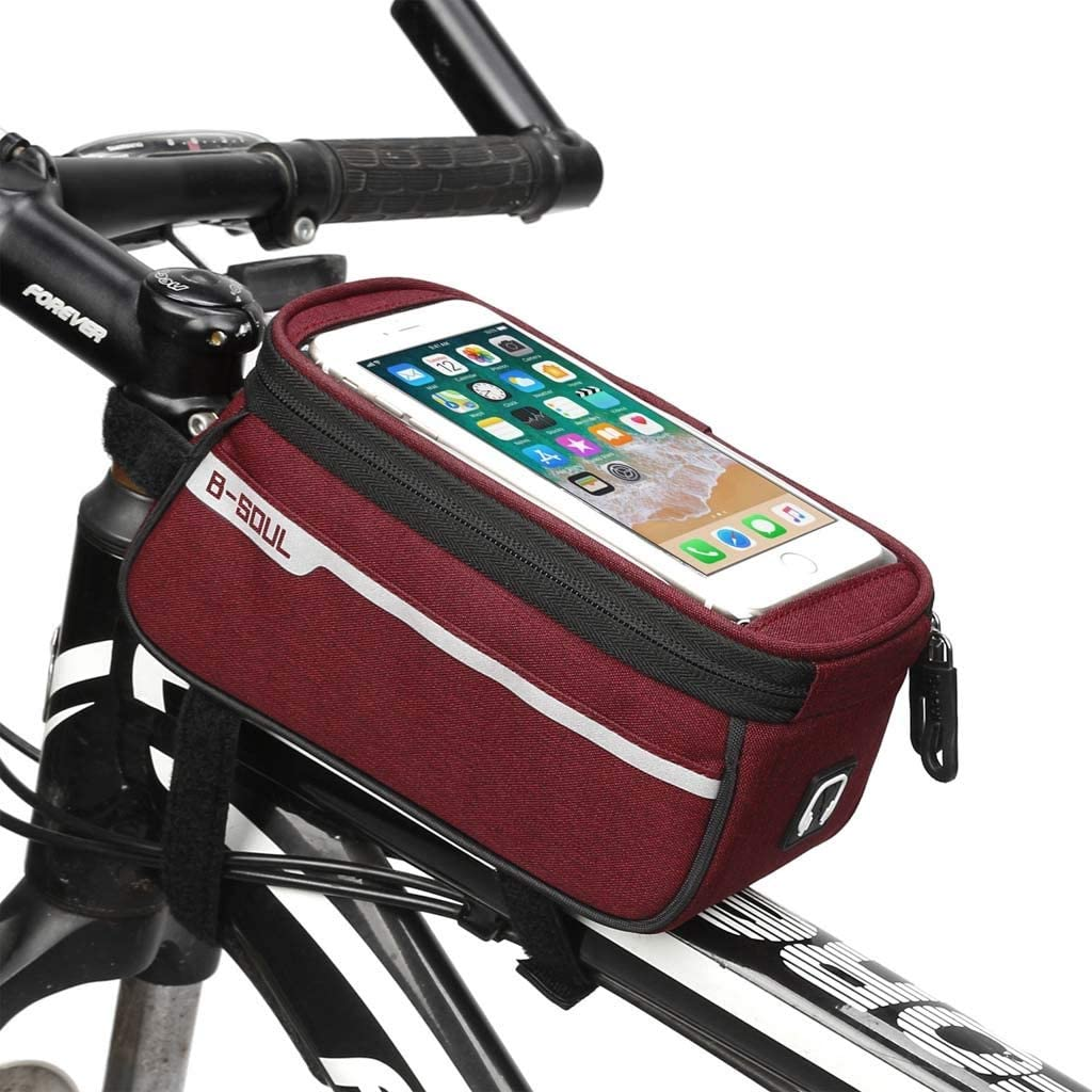 Color : Red, Size : 6 inches Cloud Bike Frame Bag Bicycle Phone Mount Cycling Front Top Tube Pouch Frame Phone Holder Bag Pannier