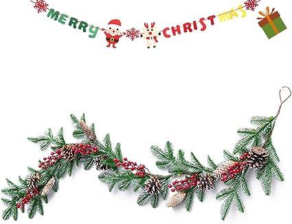 Weihnachtsgirlande mit Beleuchtung Lichterkette Weihnachtsdeko K/ünstliche Tannengirlande Beeren Zapfen Geschm/ückt Weihnachten Dekoriert f/ür Kamine Treppen Wand T/ür Keine Lichter, Kranz 60CM