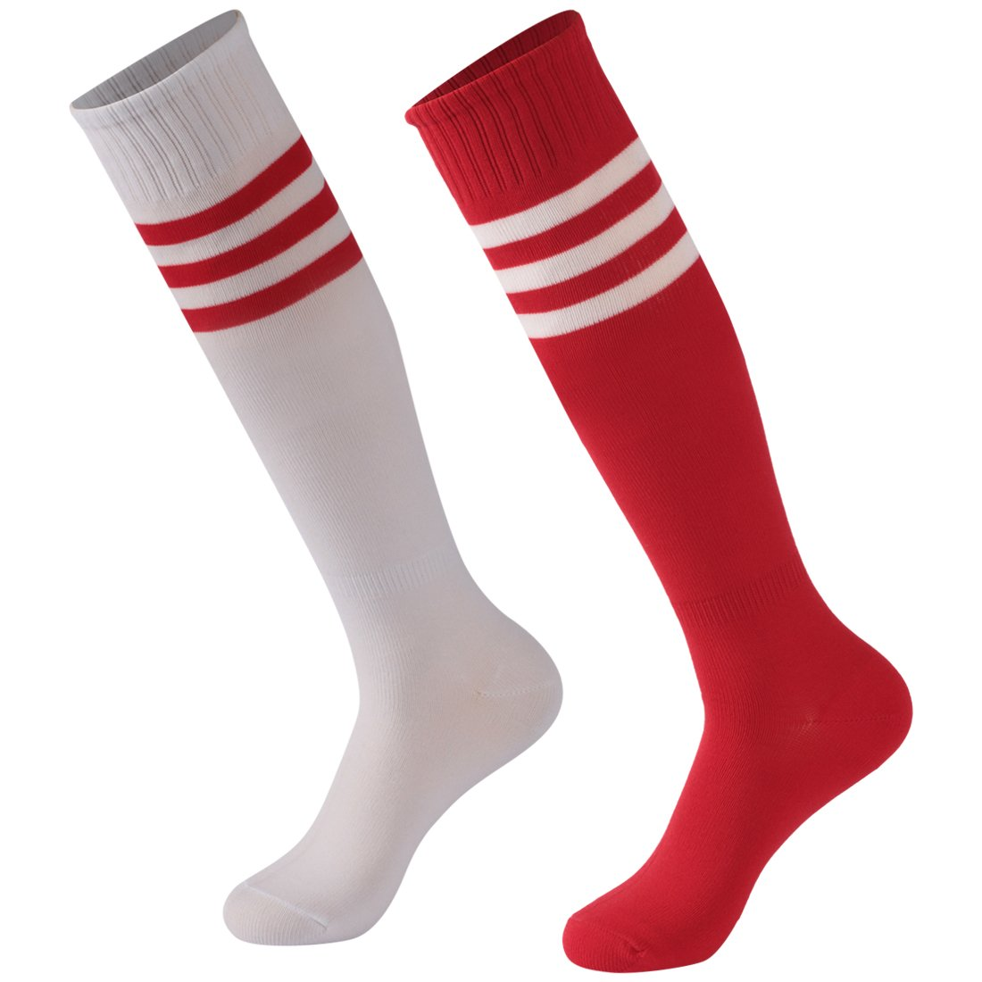 Triple Stripe Calbom Unisex Extra Long Athletic Soccer Rugby Football Sport Tube Socks Pack of 2 White/Red One Size Gift for Students by Calbom