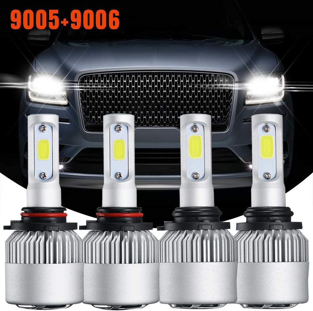 AXECO 9005 9006 LED Headlight Bulb High Low Beam Combo Pack 16000lm 6500K Xenon White Extremely Bright CSP Chips Conversion Kit