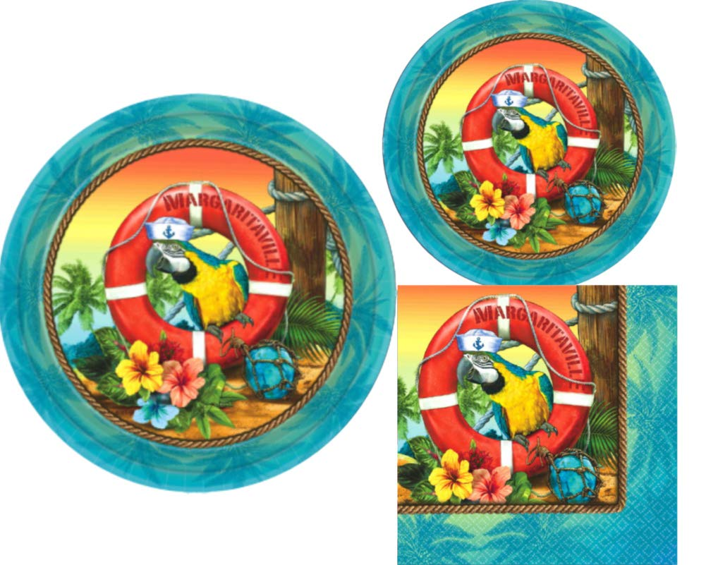 Tropical Luau Parrot Party Supplies: Bundle Includes Paper Plates and Napkins for 18 Guests in a Margaritaville® Design