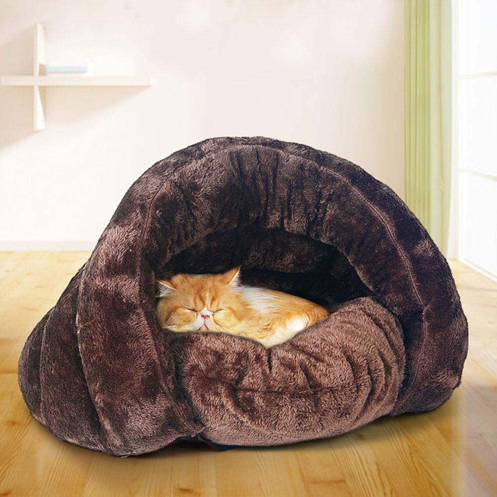 leegoal - Cama para Mascotas con Forma de Concha para Gatos y Perros pequeños, cómoda, Suave, no tóxica, cálida, algodón Igloo Cuevas Casas para Mascota ...
