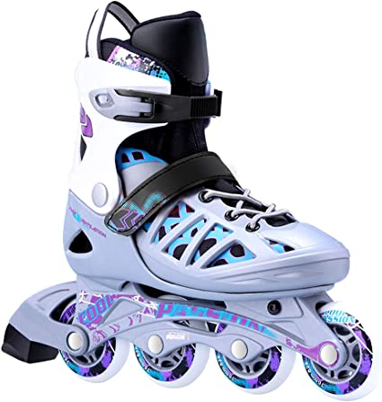 Rollerblade Microblade Alu 3WD Kids Size Adjustable Inline Skate High Performance Inline Skates Youth Black and Sport Blue