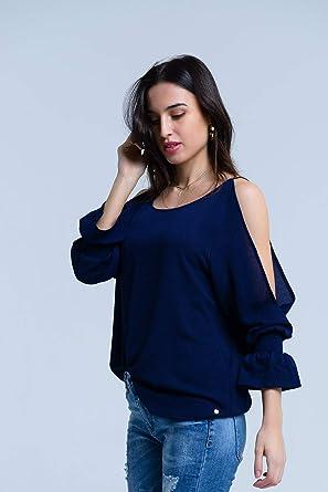 Q2 Blusa Azul Marino de Manga Larga y Hombros Descubiertos Camisa, M Mujeres: Amazon.es: Ropa y accesorios