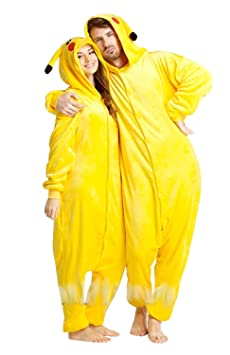 Inception Pro Infinite Größe L - Pyjamas und Kostüm - Verkleidung - Karneval - Halloween - Pikachu - Pokemon - Gelb - Erwachs