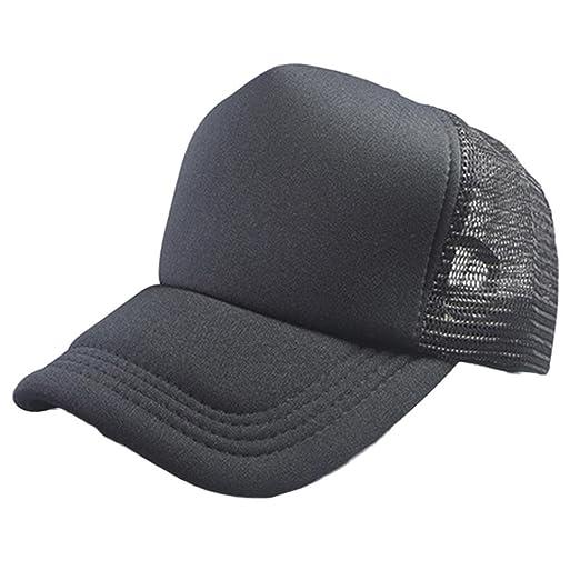 a487a85e5602d Amazon.com  BCDshop Hat Summer Sun Hats Women Men Mesh Solid Caps Sport  Hiking Running Baseball Caps (Black)  Clothing