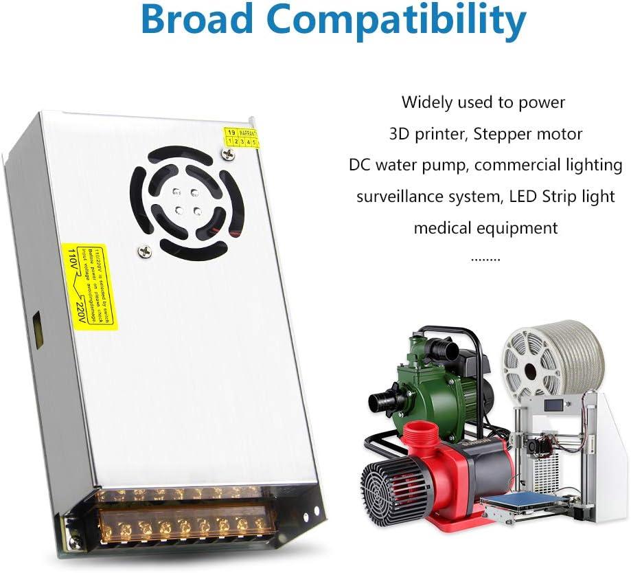 SHNITPWR 12V DC Power Supply 25A 300W Switching Power Supply Transformer Adapter 110V 220V AC to DC 12 Volt 25amp 24A 23A 22A 21A 20A Converter LED Driver for LED Light 3D Printer CCTV Stereos Radio