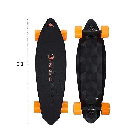 Maxfind Electric Skateboard Longboard 31' 16.2 Miles 1000W Hub-Motor 90mm Wheels Diamond Cutting Design Waterproof with Remote Controller Updated Board