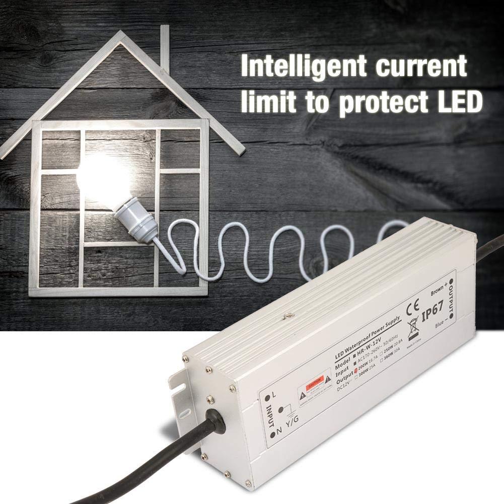 24V 200W LED IP67 12V 16.7A HRW-12V200W Transformador impermeable del conductor de la prenda impermeable LED de la fuente de alimentaci/ón de la tira de la luz de 12V