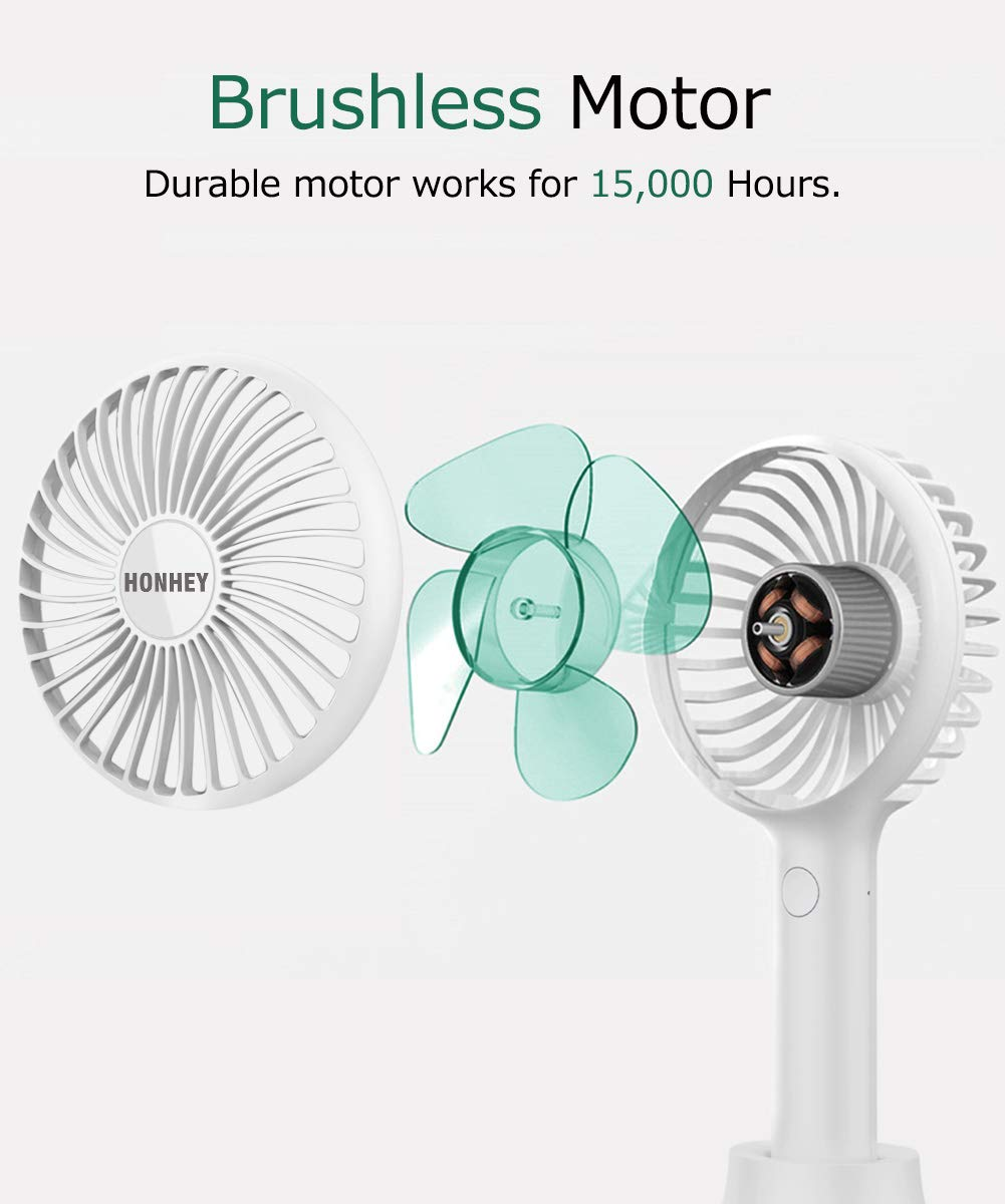 HonHey Handheld Fan Portable, Mini Hand Held Fan with USB Rechargeable Battery, 3 Speed Personal Desk Table Fan with Base, 8-12 Hours Operated Handheld Fans for Women Girls Kids Outdoor and Indoor