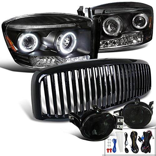 Dodge Ram Black Halo LED Projector Headlights+Smoke Fog Lamps+Grille