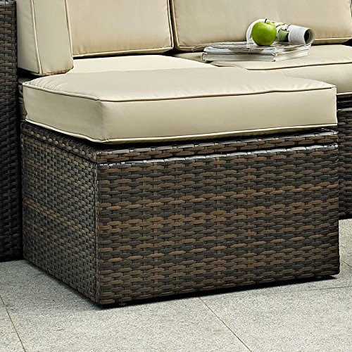 Brayden Studio Polyester Blend Resin Wicker Crosson Ottoman with Cushion, Tan from Brayden Studio