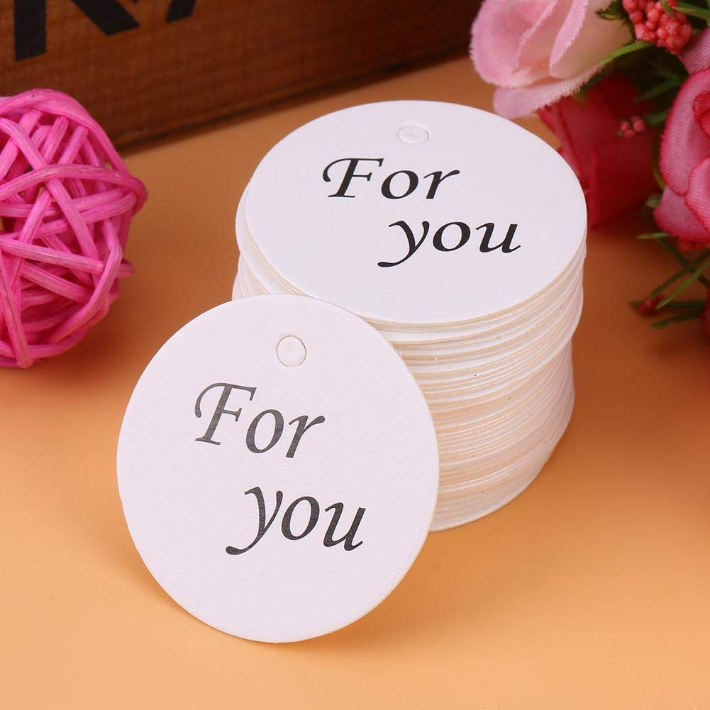 Personalized Round Circle Wedding Gift Tags,100pcs White Handmade Hang Label Wedding Favor Gift Dessert Tags for Wedding,Baby Shower 1 Party Favor