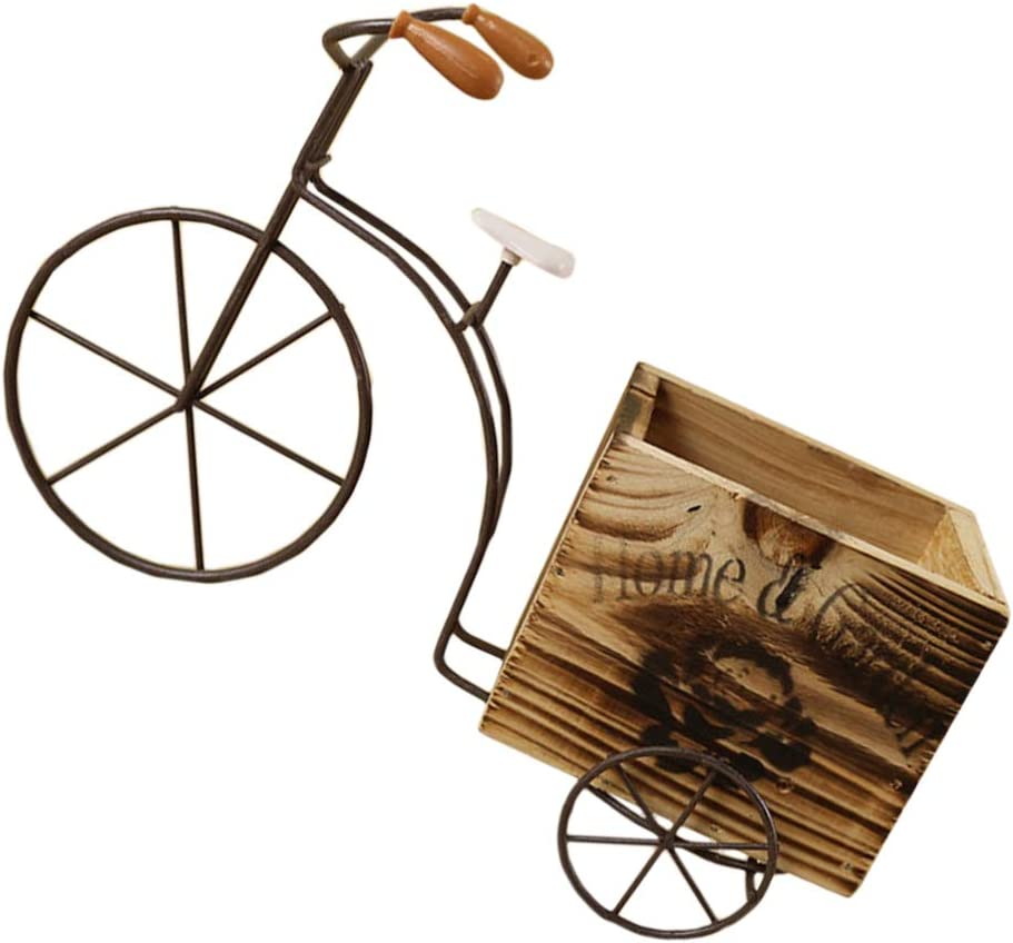 DOITOOL Wooden Bicycle Planter Metal Wire Flower Pot Wrought Iron Planter for Plants Flowers Garden Patio Office Balcony Outdoor and Indoor Decor (Wood Color Small Size Random Style)