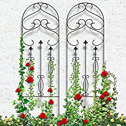 "Amagabeli Garden Trellis for Climbing Plants 60"" x 18"" Rustproof Black Iron Potted Vines Vegetables Flowers Patio Metal Wire Lattices Grid Panels for Ivy Roses Cucumbers Clematis Pots Supports 2 Pack"