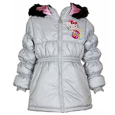81f06d888 Amazon.com: Hello Kitty Girl's HK031 Puffer Hooded Grey Winter ...