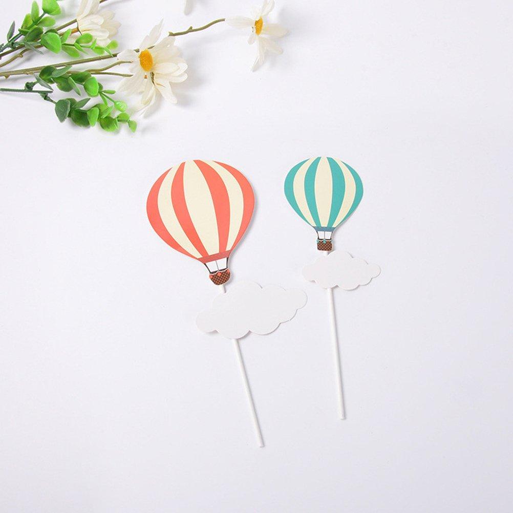 TOYMYTOY Kuchen Topper Sticks Kuchen Picks Hei/ßluftballon Wolken Regenbogen Lutscher Design f/ür Geburtstagstorte Dekor 20 St/ücke