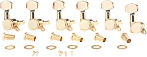 Musiclily Pro 6 in Line Guitar Locking Tuners Tuning Machines Set for Stratocaster Telecaster Style,Gold