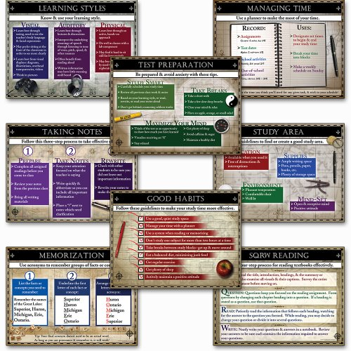 - The Study Guide Laminated Educational Poster Series. Guidance Art Prints. Featuring: Learning Styles, Managing Time, Memorization, SQRW Reading, Good Habits, Study Area, Taking Notes, and Test Preparation