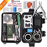 Monoki Emergency Survival Kit, 15-In-1 Outdoor Survival Gear Safety First Aid Kit - Portable EDC Emergency Survival Multi Tools Set for Home Car Camping Hiking Hunting Climbing Wilderness Adventures