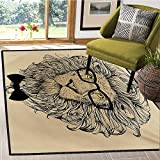 Indie, Area Rug Dorm, Lion Character Portrait with Glasses and Bowtie Hipster Smart Cool Dandy, Bath Mat for tub Bathroom Mat 4x5 Ft Sand Brown Black Yellow