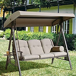 Abba Patio 3 Seat Outdoor Porch Swing Hammock with Adjustable Canopy, Taupe