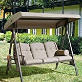 Abba Patio 3 Seat Outdoor Canopy Porch Swing Hammock with Steel Frame and Adjustable Canopy, Taupe Review