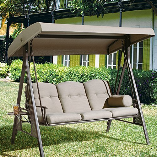 Abba Patio 3 Seat Outdoor Canopy Porch Swing Hammock with Steel Frame and Adjustable Canopy, Taupe
