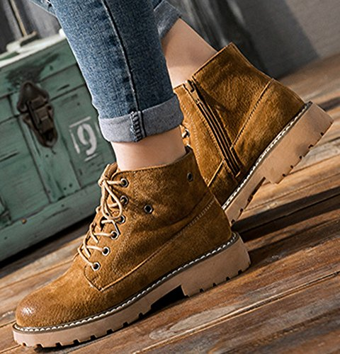 Ankle lace Heels Mid Aisun Trendy Top Yellow Up Women's Boots IMfqa