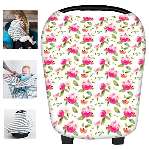 Multi-Use Floral Milk Yarn Nursing Breastfeeding Cover Baby Car Set Cover Canopy Shopping Cart Cover Swaddle Blanket for Infants Newborns Toddlers Shower Gift (Seat Toddler Car Cover Floral)