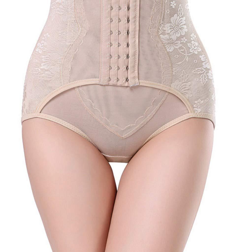Women Shapewear,Vanvler Female [ Tummy Control Pants ] Slimming Body Underwear Abdomen High Waist Cincher Hip Corset Sweat Sauna (L, Khaki)
