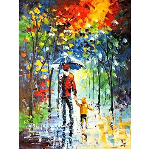 Sunding Art Modern Abstract Artwork Adult and Children Hand-Paints Canvas Paintings Modern Wooden Framed Wall Art for Living Room Decoration