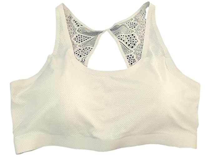 455c03ab93af4 XueXian(TM) Womens Lace Back Activewear Workout Crop Top Wireless Yoga Bra ( White
