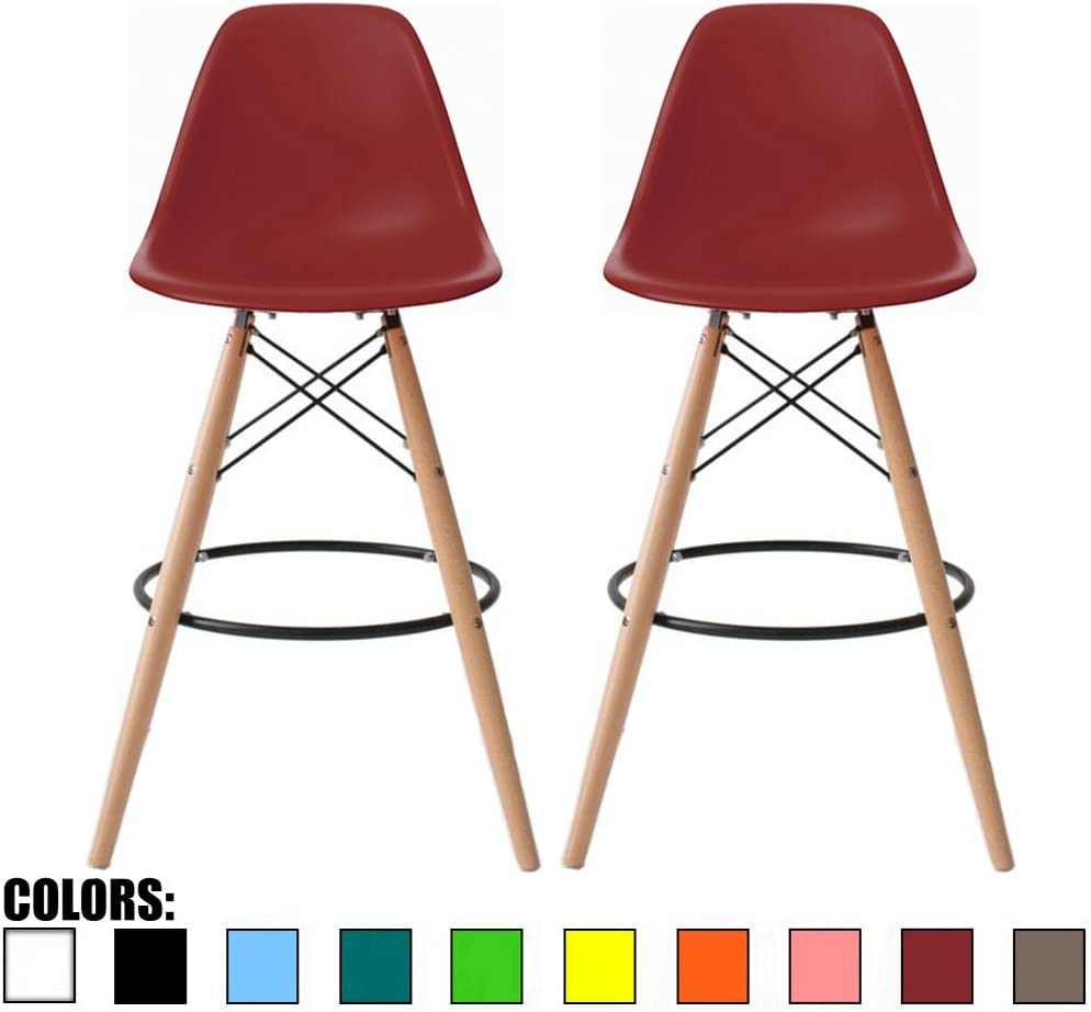 "2xhome Set of 2 Red 25"" Mid Century Modern Vintage Chair DSW Molded Shell Plastic Bar Stool Barstool Counter Stools with Back Armless Natural Legs Wood Eiffel Legs Dowel for Home Kitchen"