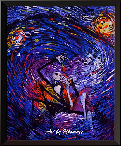 Uhomate Jack Sally Jack and Sally Nightmare Before Christmas Vincent Van Gogh Starry Night Posters Home Canvas Wall Art Anniversary Gifts Baby Gift Nursery Decor Living Room Wall Decor A015 (8X10) ()