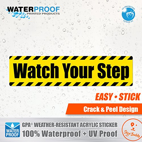 (Pack of 10 pcs) Watch Your Step Waterproof Sticker Outdoor Decal Vinyl Label Stair Safety Sign