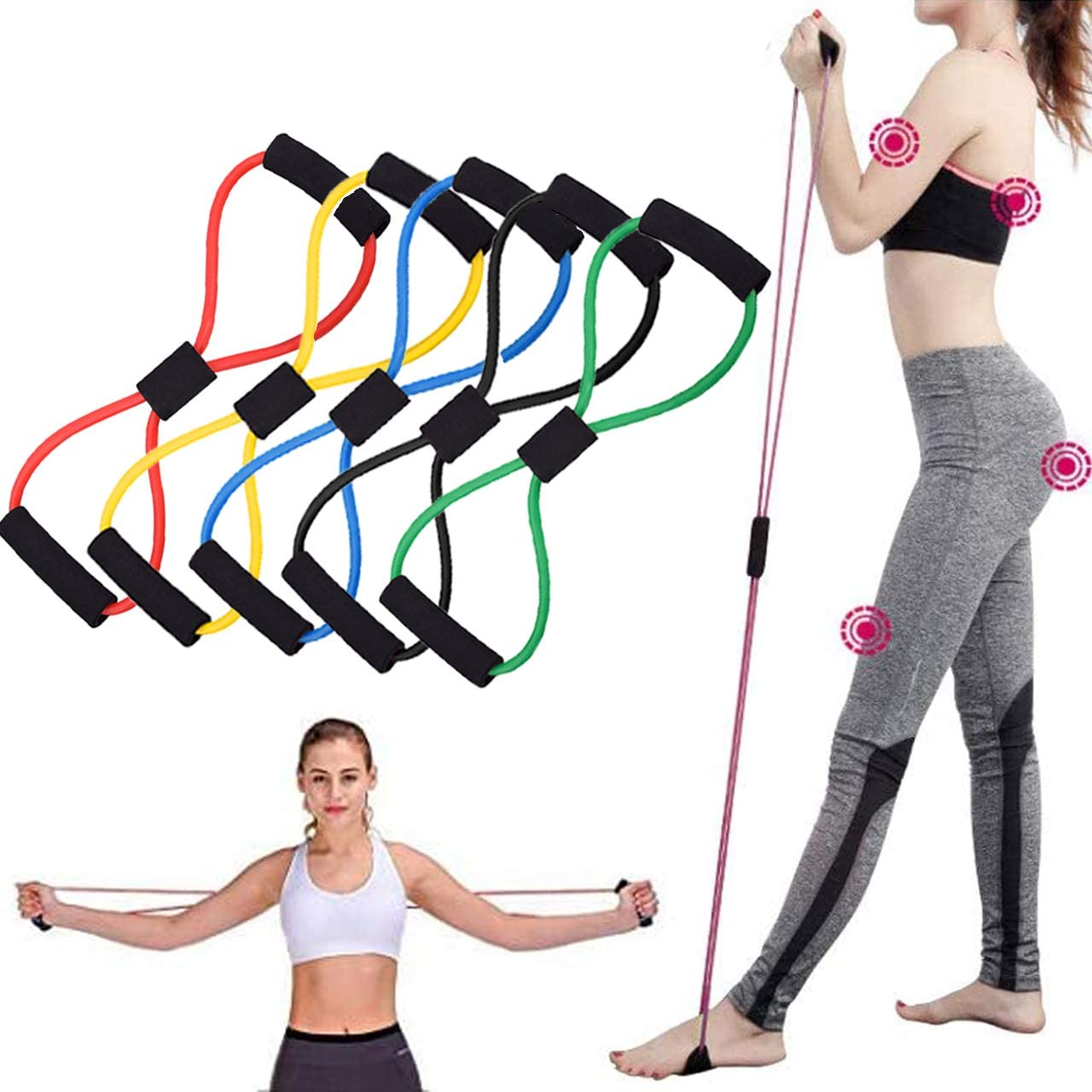 Fitness Trainer Rope Stretch Resistance Bands Elastic Full Body Keep Fit Kits