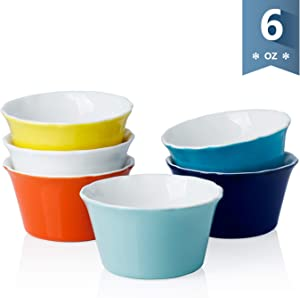 Sweese 511.002 Porcelain Souffle Dish, 6 Ounce Ramekins for Baking, Set of 6, Hot Assorted Color