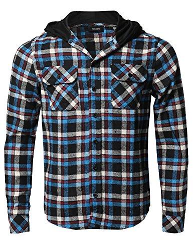 Plaid Flannel Long Sleeves Button Closure Detachable Hoodie Teal Black M