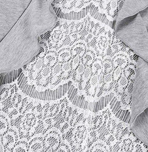 ZEZKT Übergröße Damen Spitze Design Blumen Lange Ärmel Hemd Einfarbig V-Hals Oberteile Langarmshirt Bluse Loose Plus Size T-Shirt Locker Sweatshirt Basic Shirt Tops Grau
