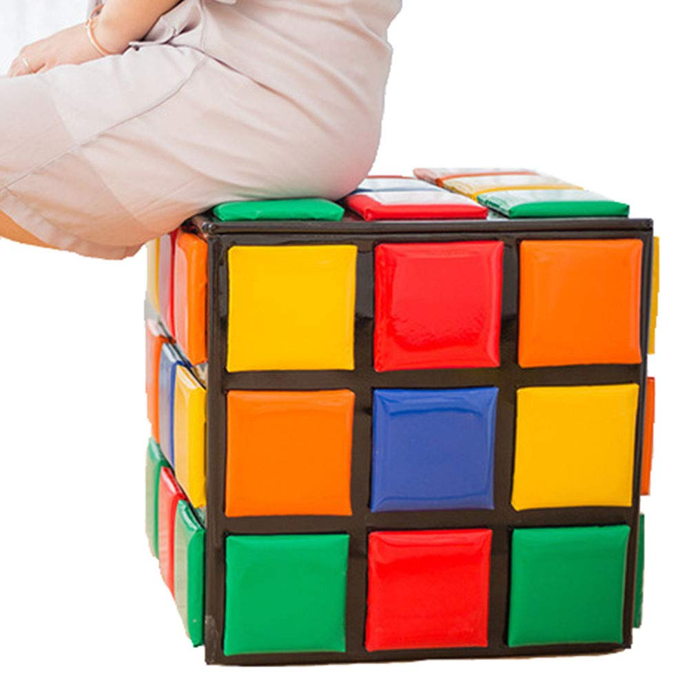 Interessante Cubo di Rubik Sgabello,Cambia Panca per Scarpe Creativo Stoccaggio,Soggiorno Mobili Sgabello da Divano,31cmx31cm
