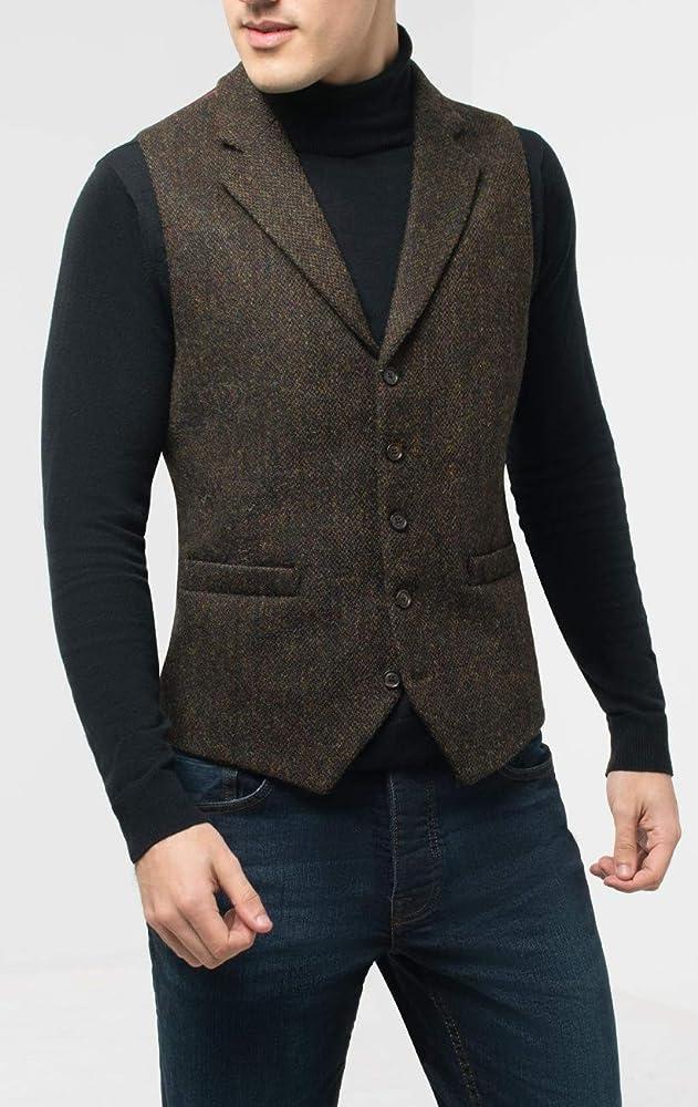 Dobell Scottish Harris Tweed Mens Green Herringbone Tweed Waistcoat Regular Fit