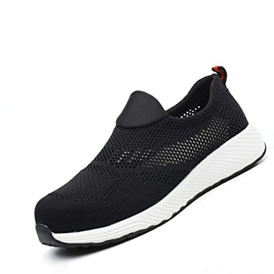 3855730c73d40 UPSTONE Steel Toe Shoes Mens, Slip on Lightweight Summer Breathable Safety  Industrial Construction Indestructible Work Sneakers Womens